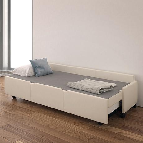 Amelio Bench Sleeper by Krug Inc. sitting, sleeping, storage.